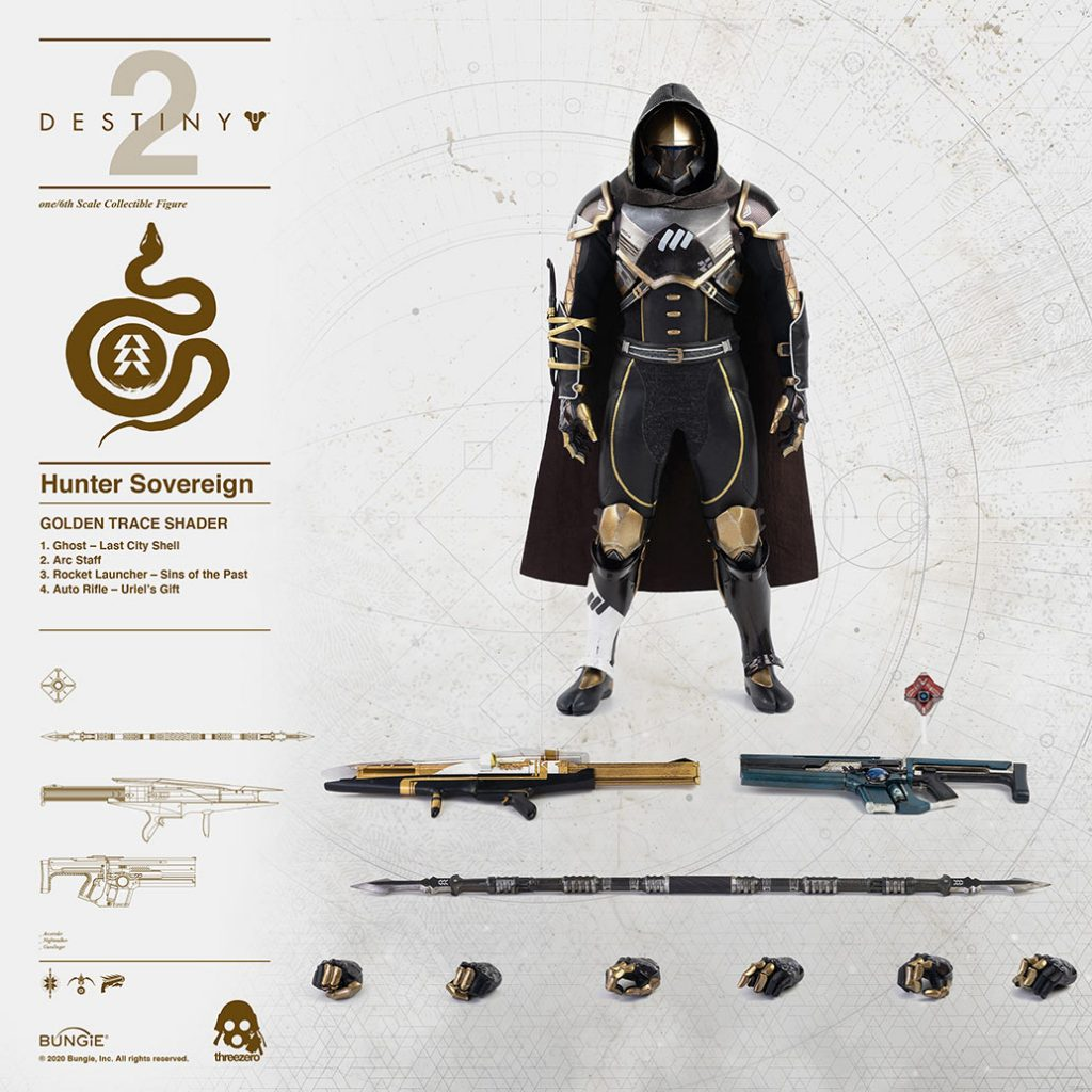 Destiny 2 Hunter Sovereign golden trace figure