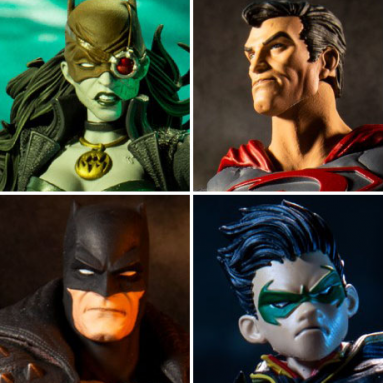 McFarlane Toys DC Multiverse Robin, The Drowned, Red Sun Superman, and Death Metal Batman