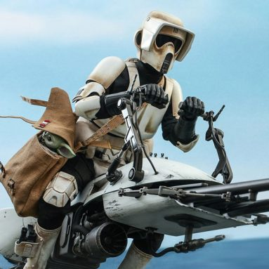 The Mandalorian Scout Trooper Action Figure With Speeder Bike by Hot Toys